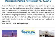 Marzocchi Pompe newsletter nr. 1 / 2016